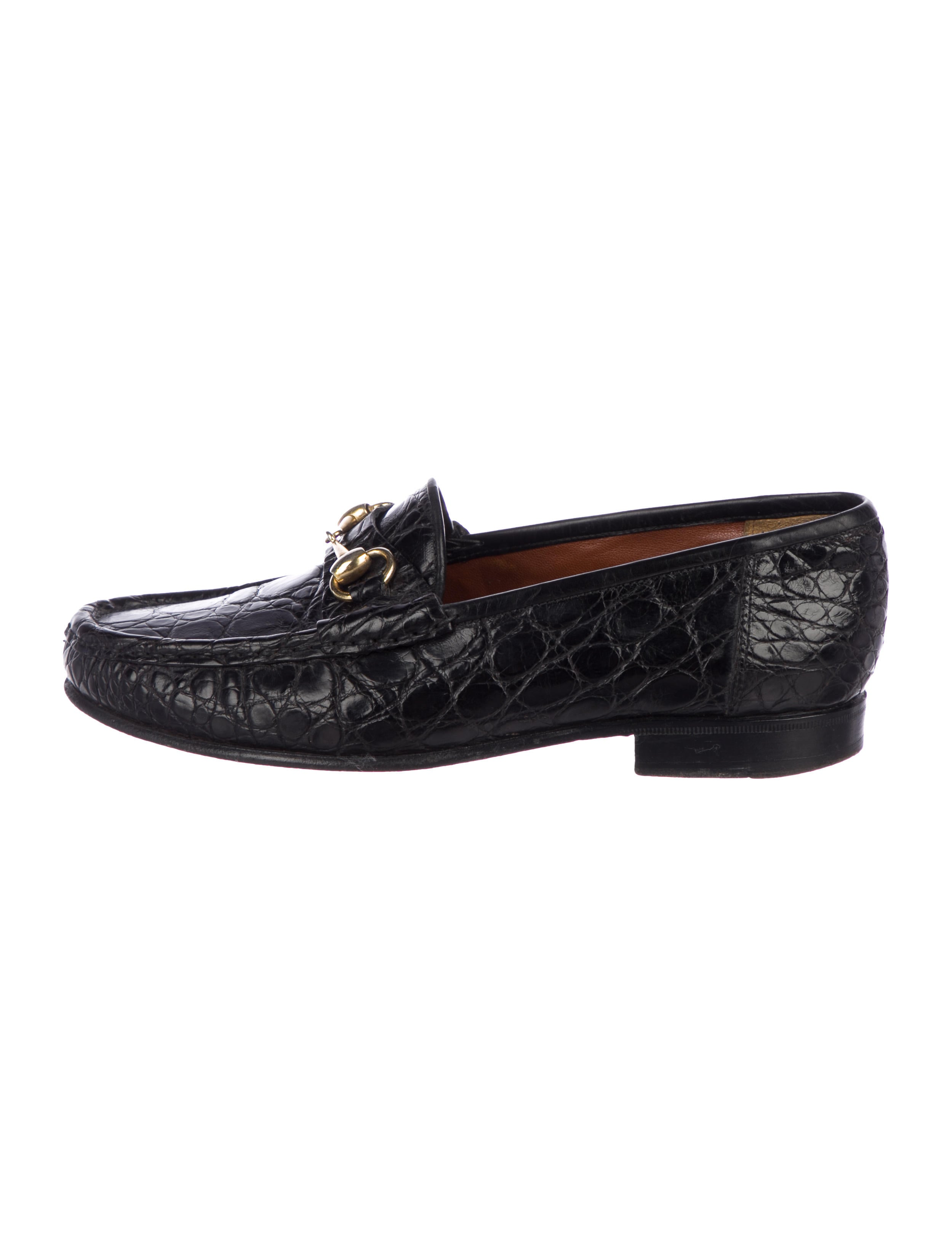 7ca8a6be193 Gucci Vintage Horsebit Crocodile Loafers - Shoes - GUC242385