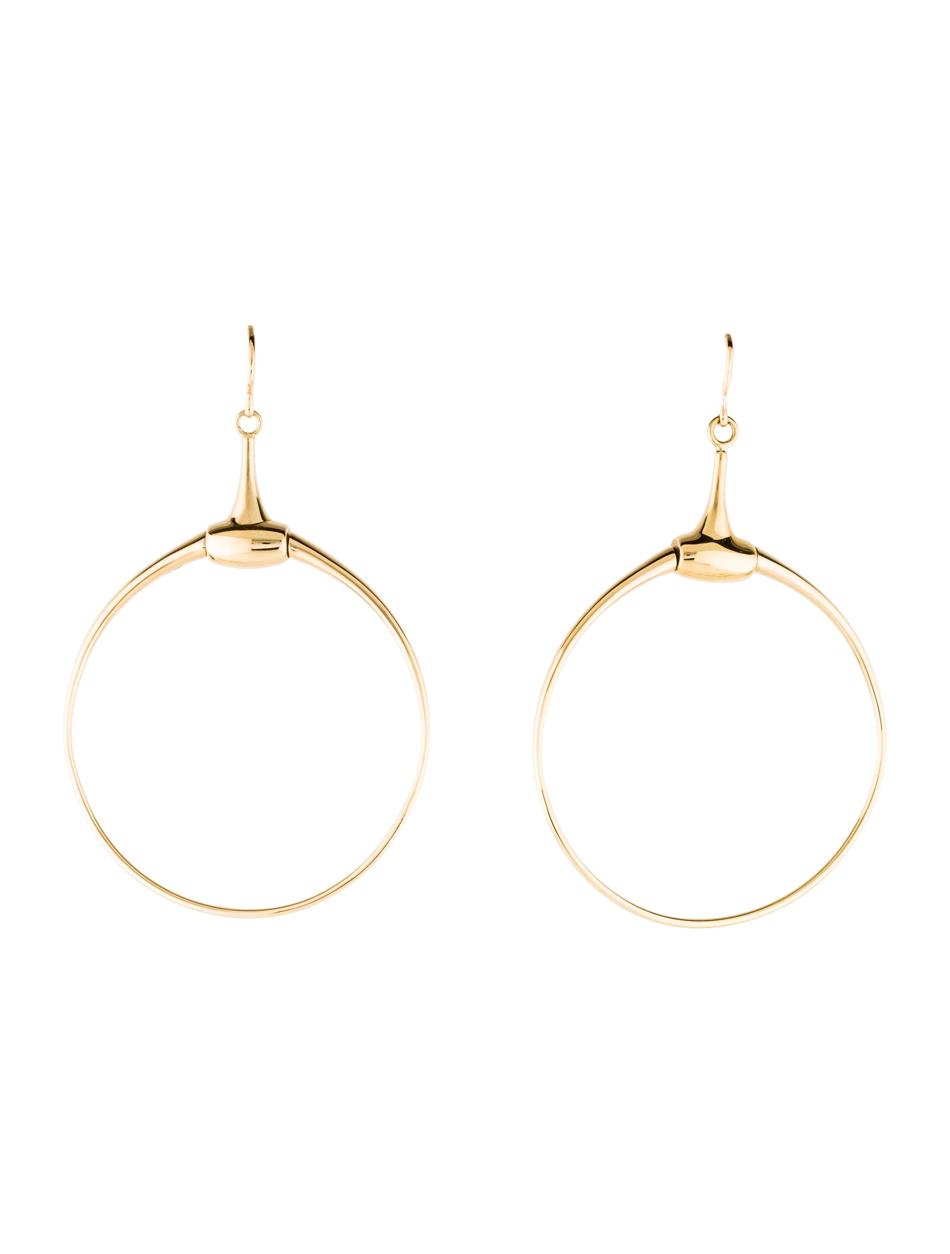 6d8c387fa21 Gucci 18K Horsebit Drop Hoop Earrings - Earrings - GUC243436