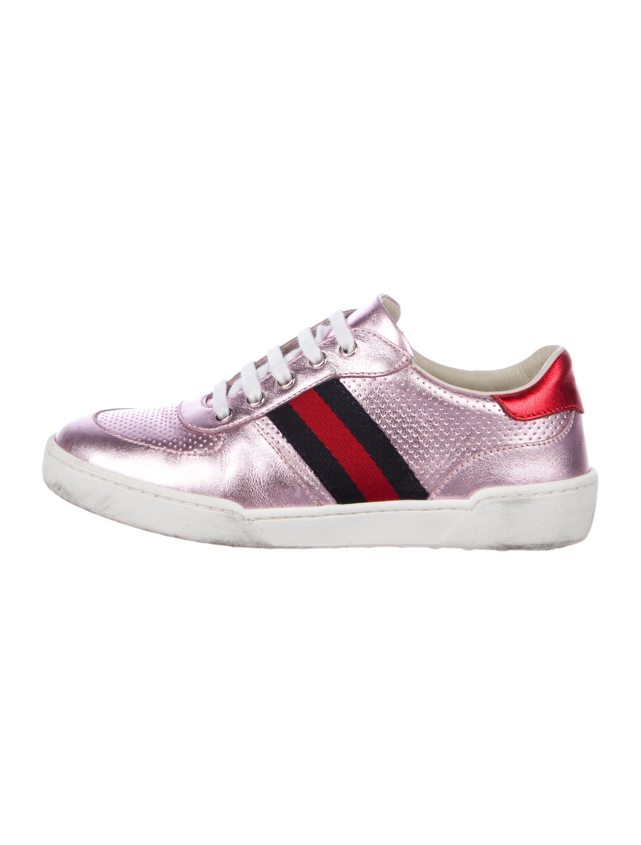 03ec6bd2104 Gucci Girls  Metallic Web Trimmed Sneakers - Girls - GUC245894