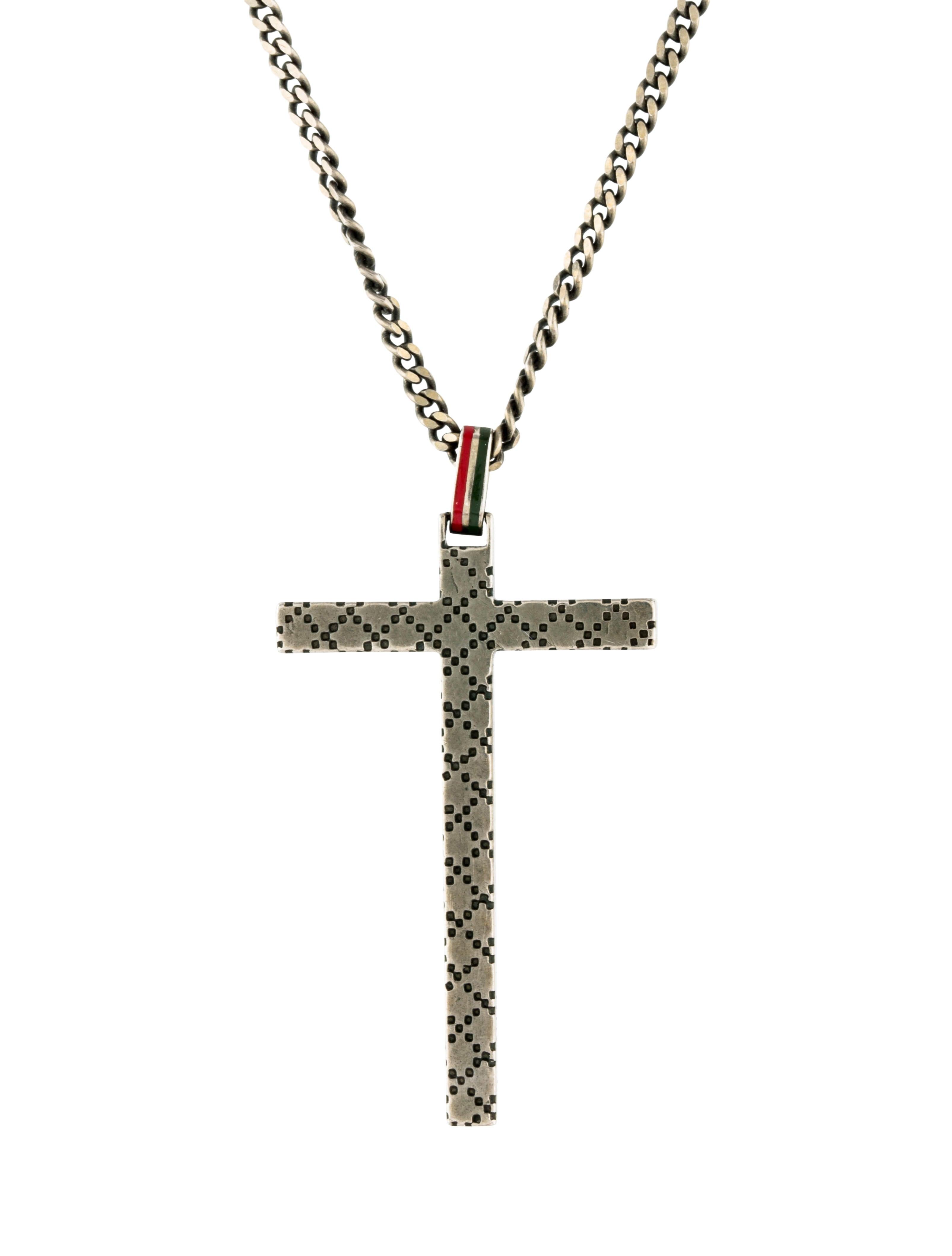 a7c2cb13b29 Gucci Enamel Diamante Cross Pendant Necklace - Necklaces - GUC246162 ...