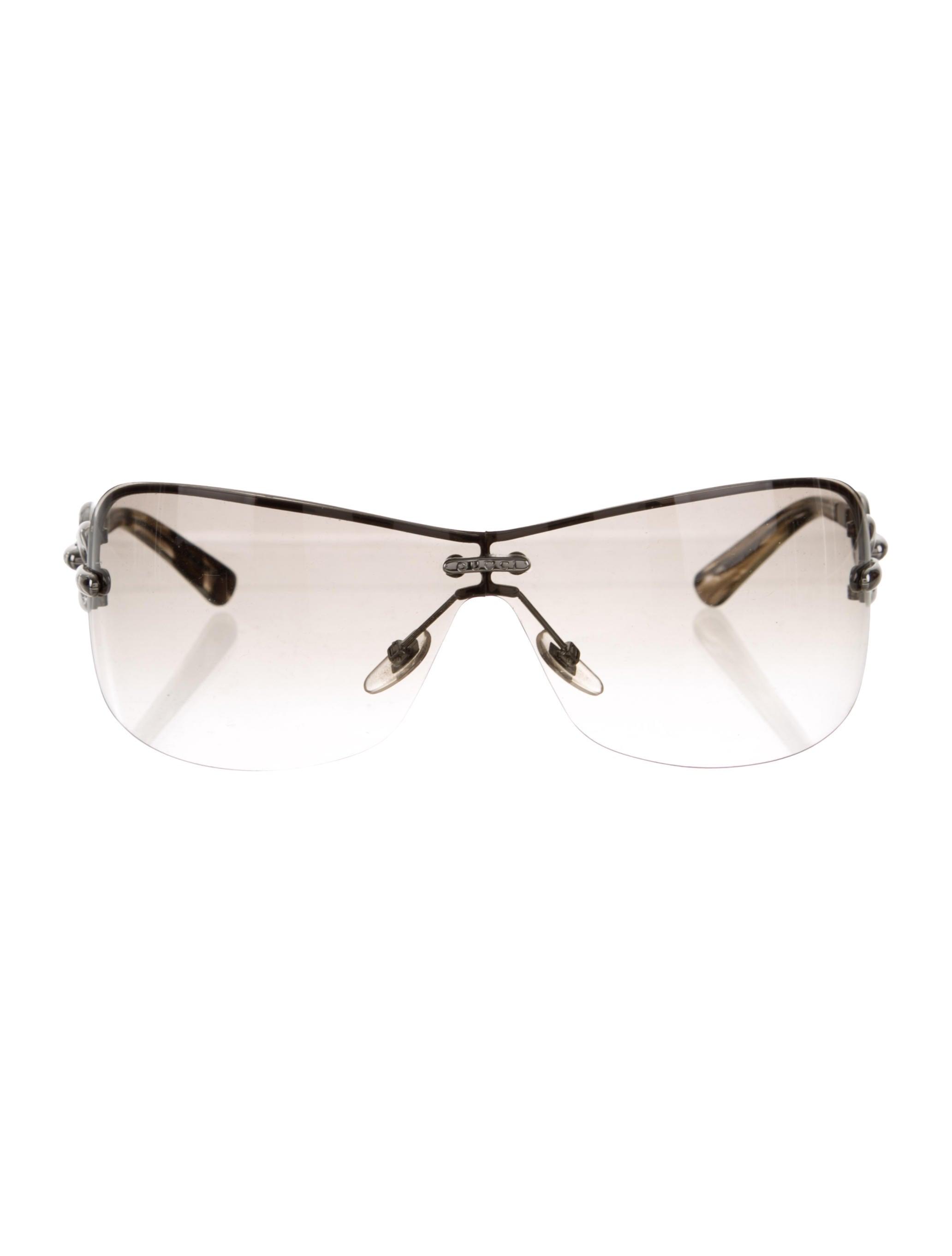 1d350dcf96f Gucci Chain-Link Shield Sunglasses - Accessories - GUC249660