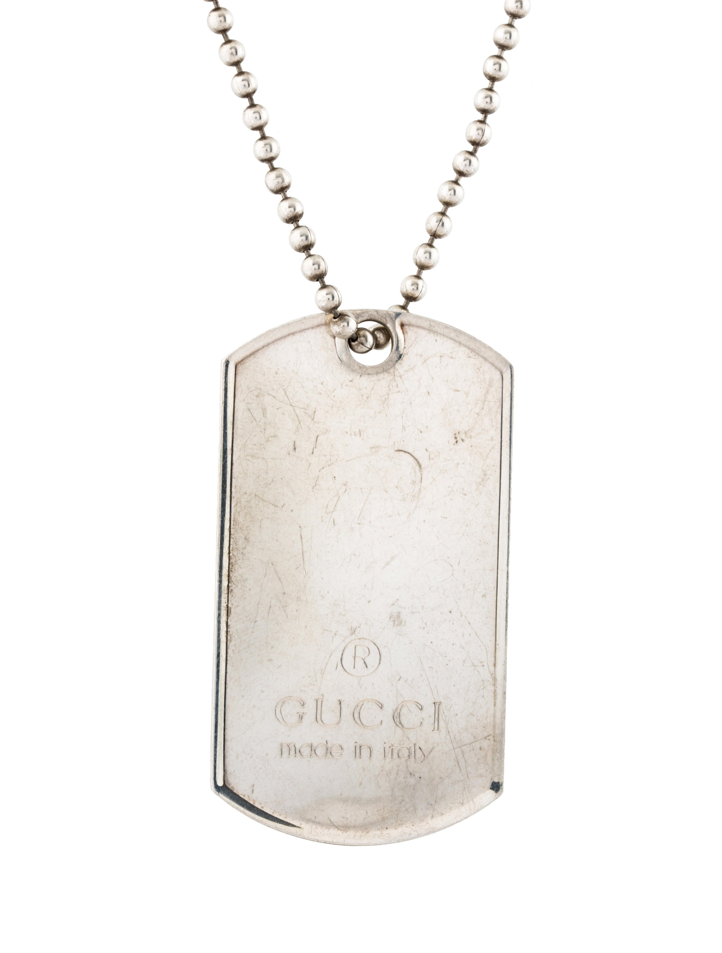 12045b241 Gucci Dog Tag Pendant Necklace - Necklaces - GUC250687 | The RealReal