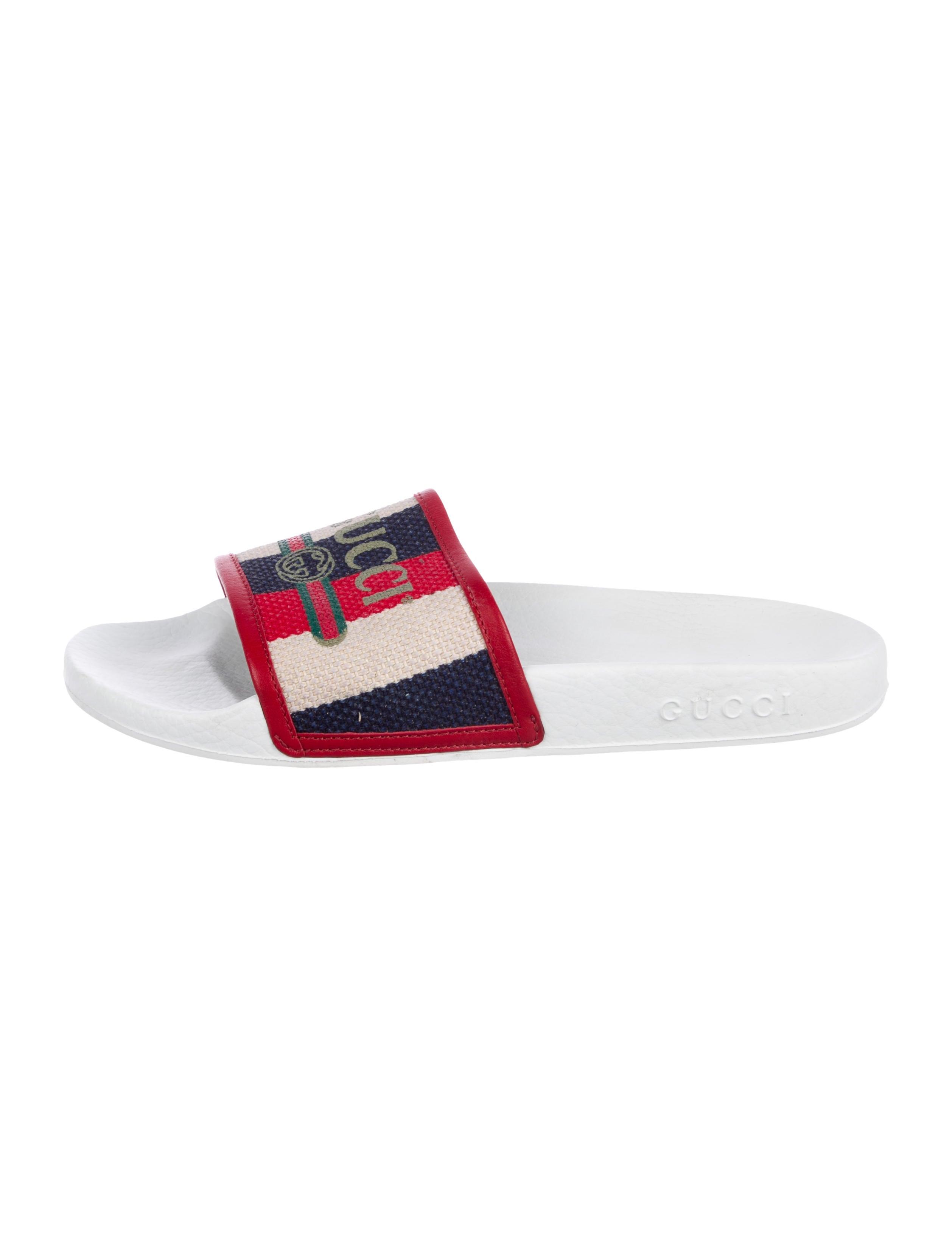 8550531603f Gucci 2018 Logo Print Slide Sandals - Shoes - GUC250818