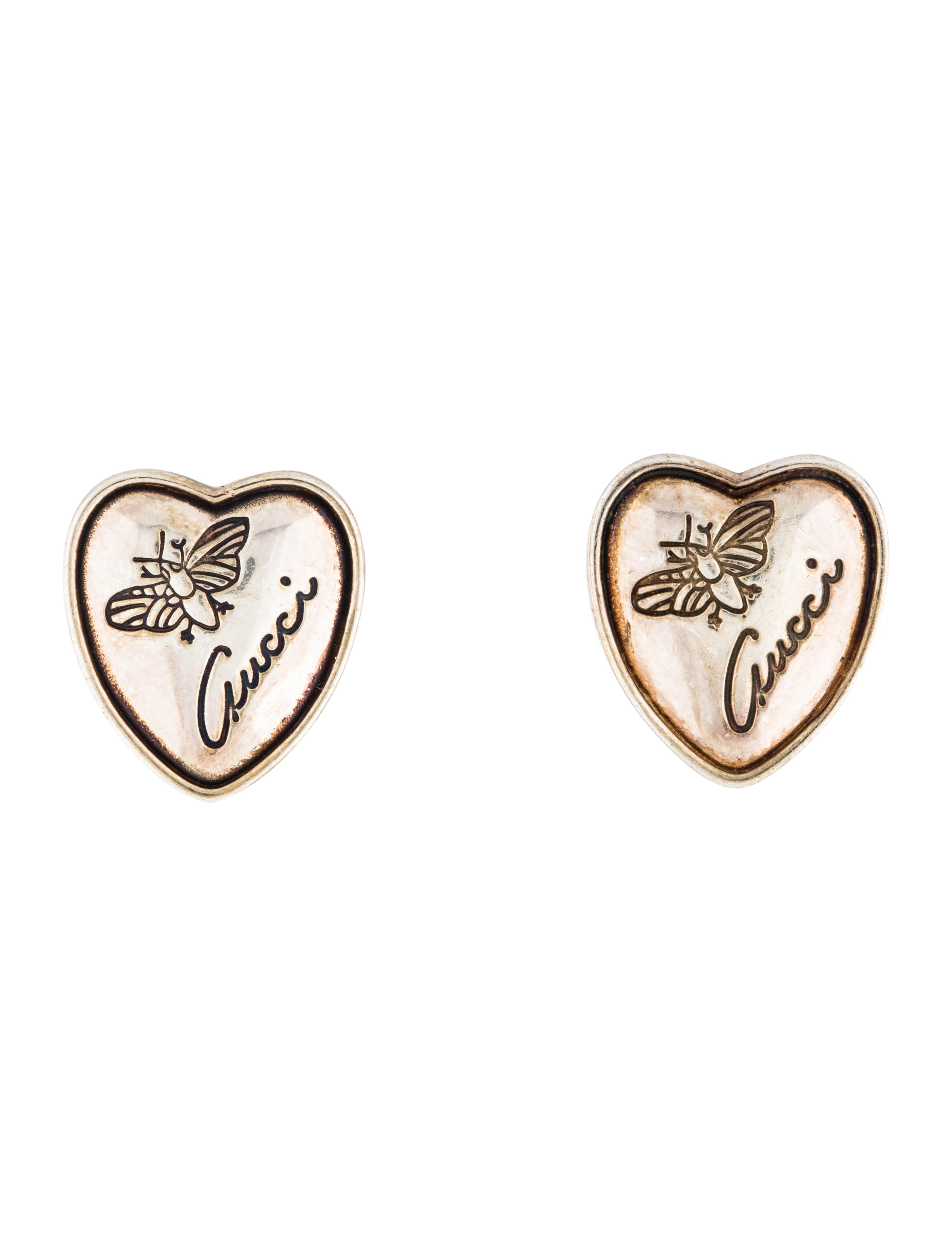 5aecf7d8d57 Gucci Flora Heart Stud Earrings - Earrings - GUC253126