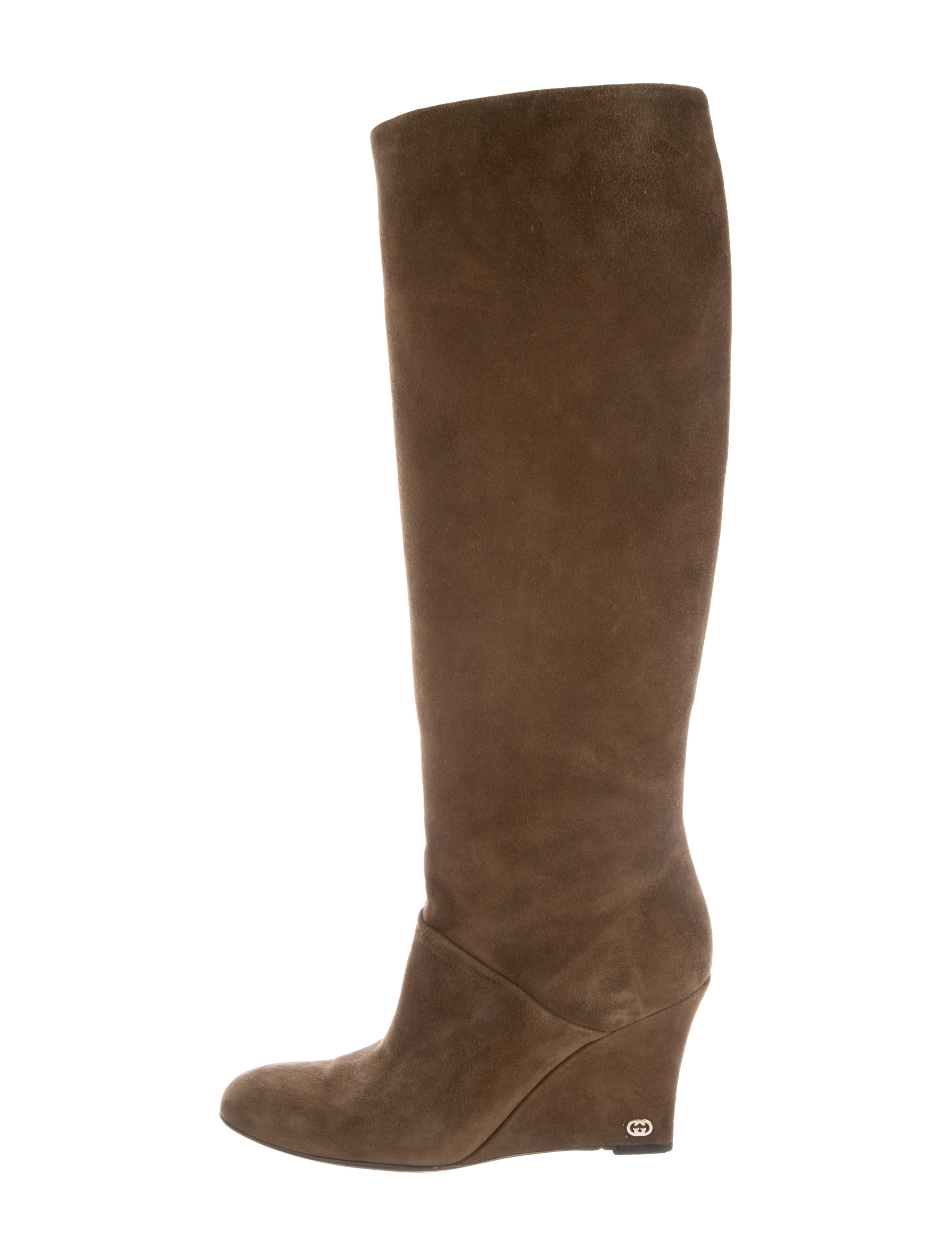 646a811d01e Gucci Suede Wedge Boots - Shoes - GUC254015