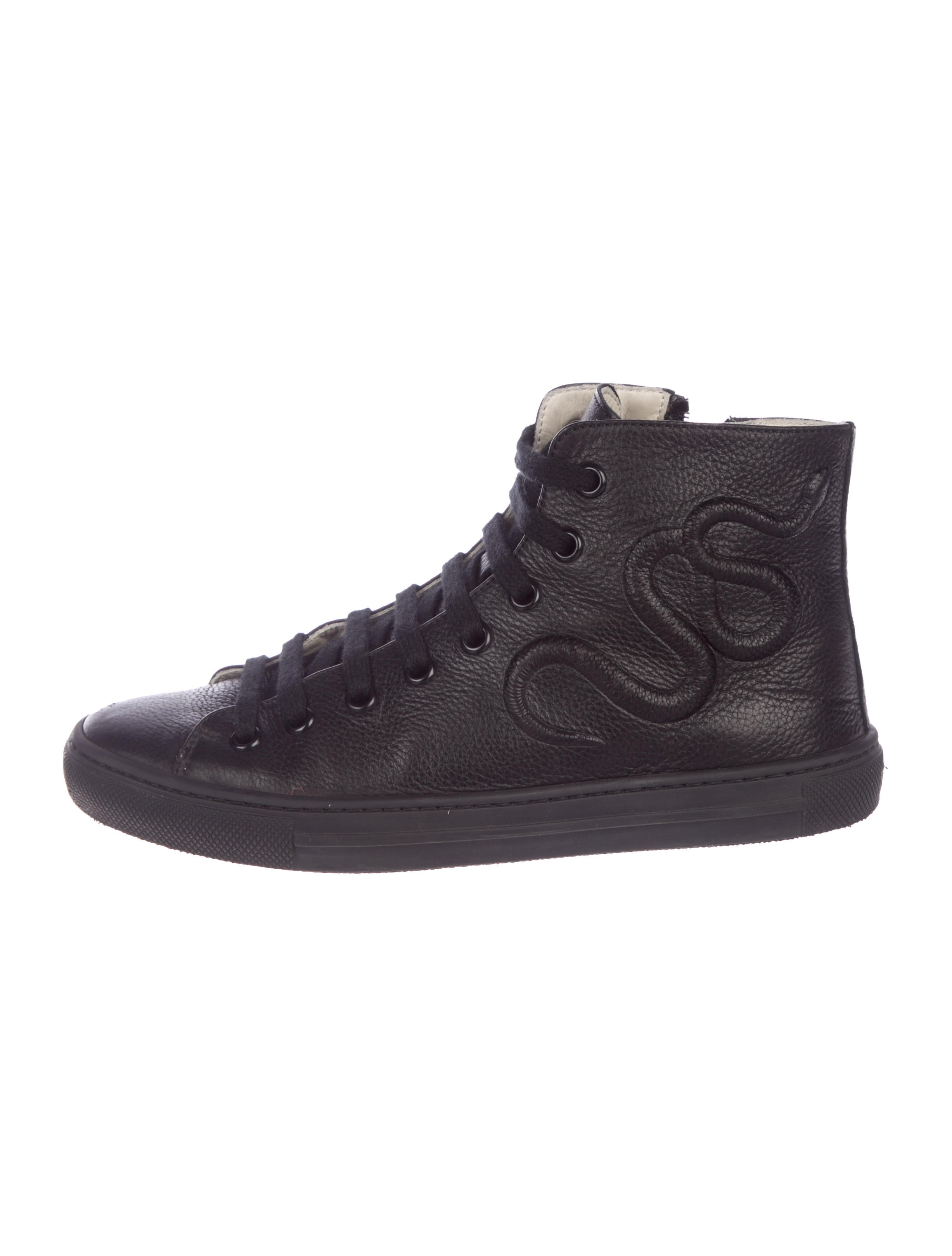 9c609a34b09 Gucci Boys  Leather High-Top Sneakers - Boys - GUC257499