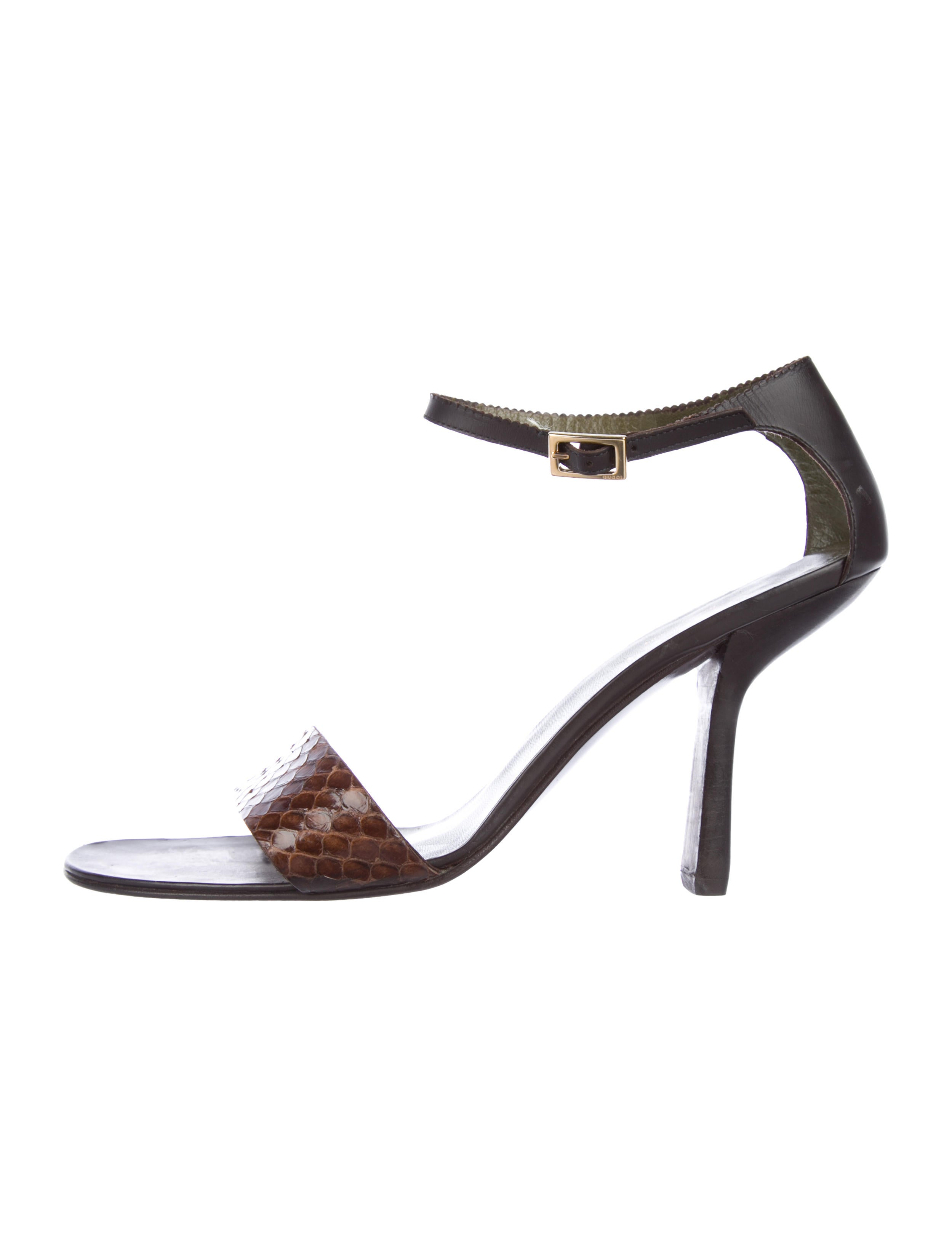 02863221cd1 Gucci Snakeskin Ankle-Strap Sandals - Shoes - GUC260901