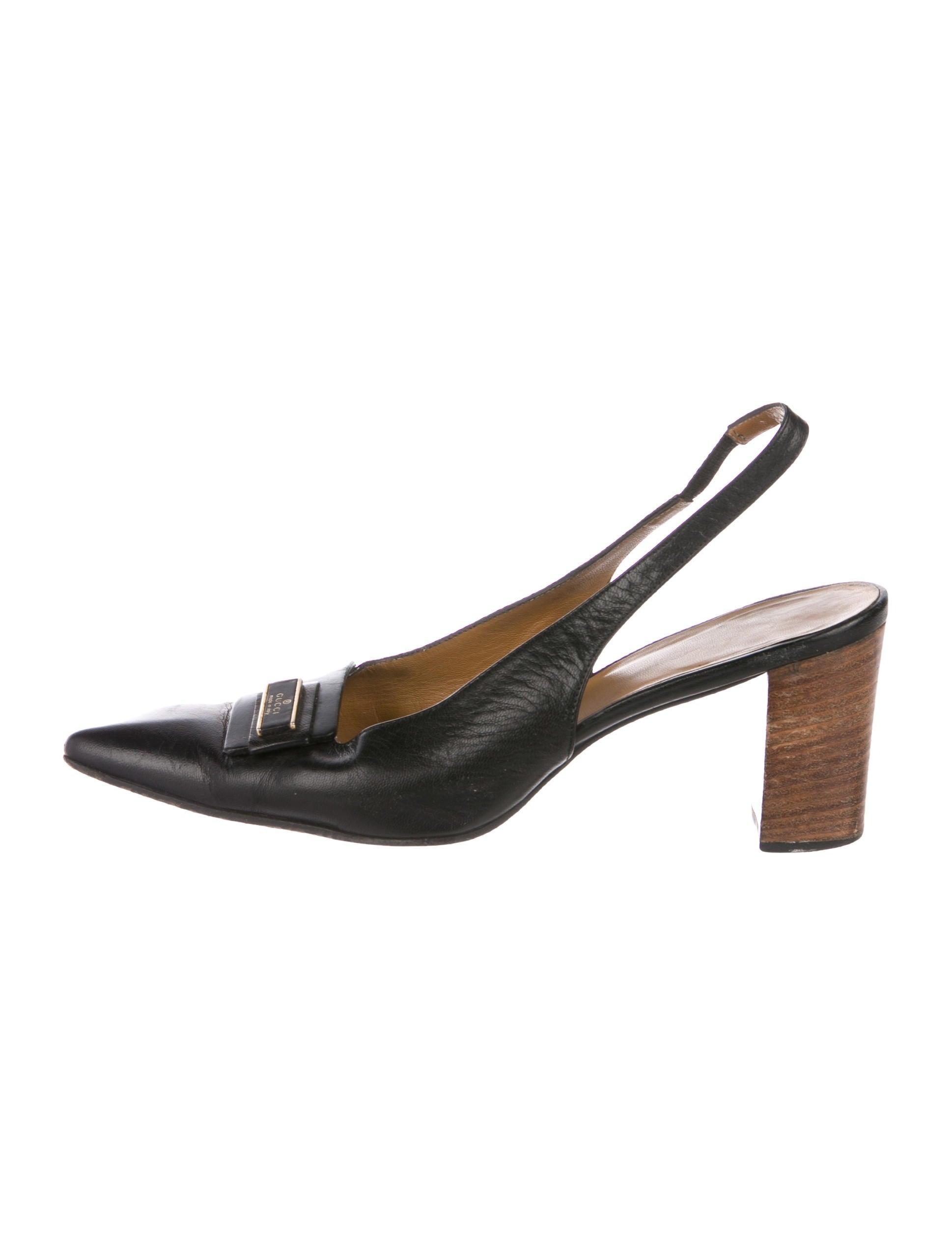 Gucci Vintage Leather Slingbacks - Shoes - GUC263295