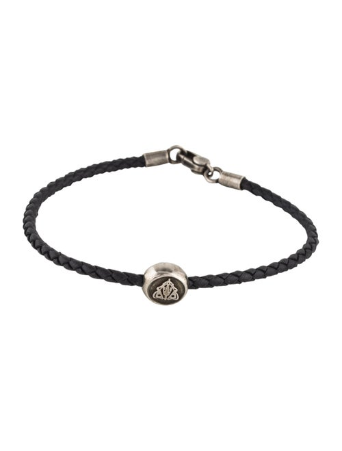 b74bf1f58 Gucci Crest Tag Woven Leather Bracelet - Bracelets - GUC264763 | The ...