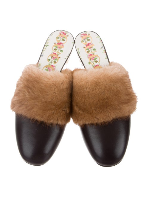 3565ea2e6 Gucci Candy Mink Fur-Trimmed Mules w/ Tags - Shoes - GUC275690 | The ...
