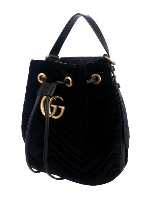 7a1e38d6998 Gucci GG Marmont Matelassé Velvet Bucket Bag - Handbags - GUC277476 ...