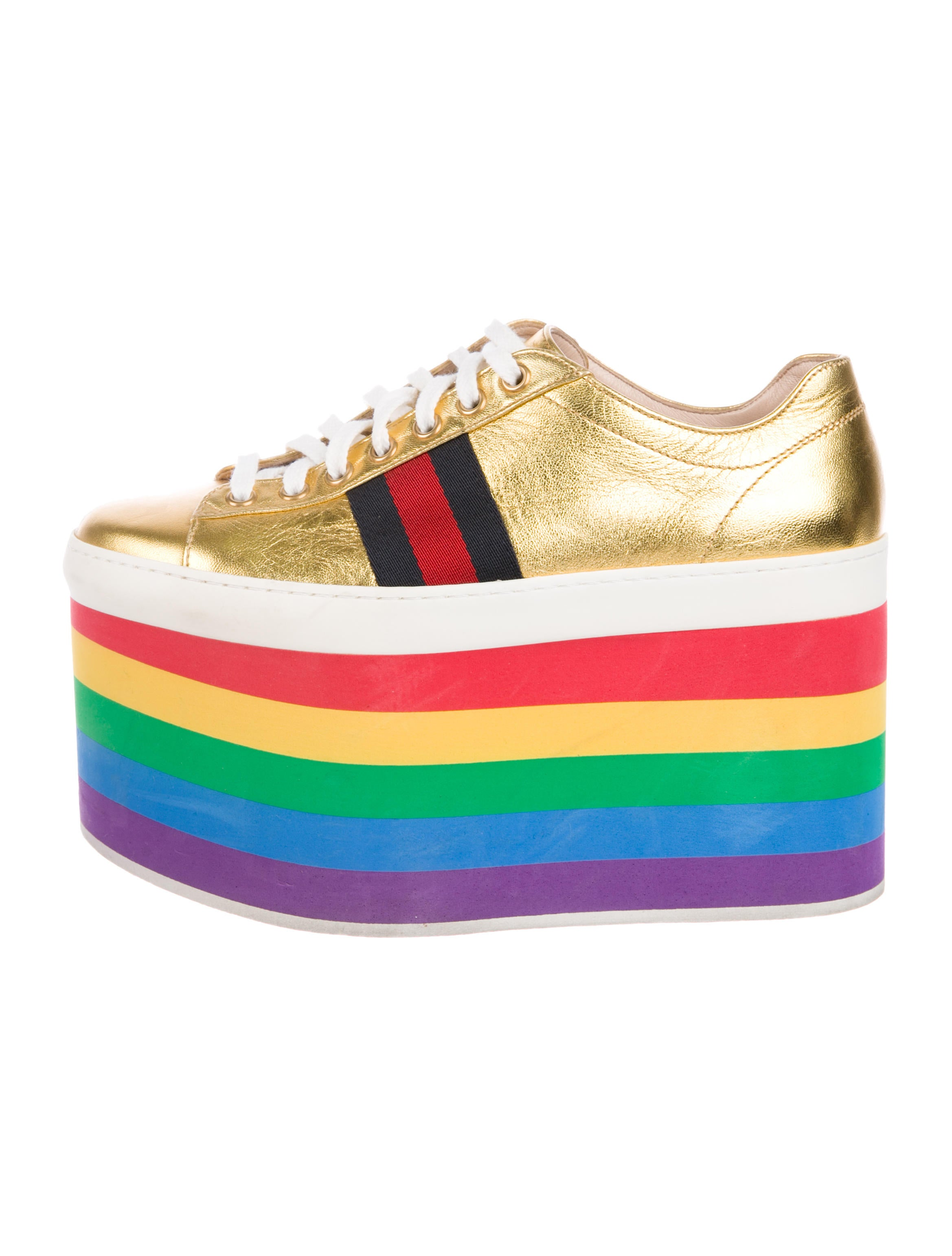 6975a9493b21 Gucci 2017 Peggy Metallic Platform Sneakers - Shoes - GUC283656 ...