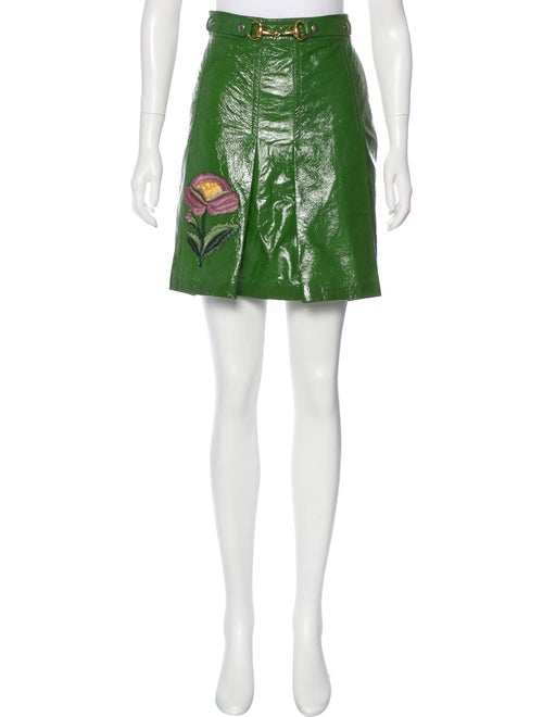 Gucci Patent Leather Horsebit Skirt Green