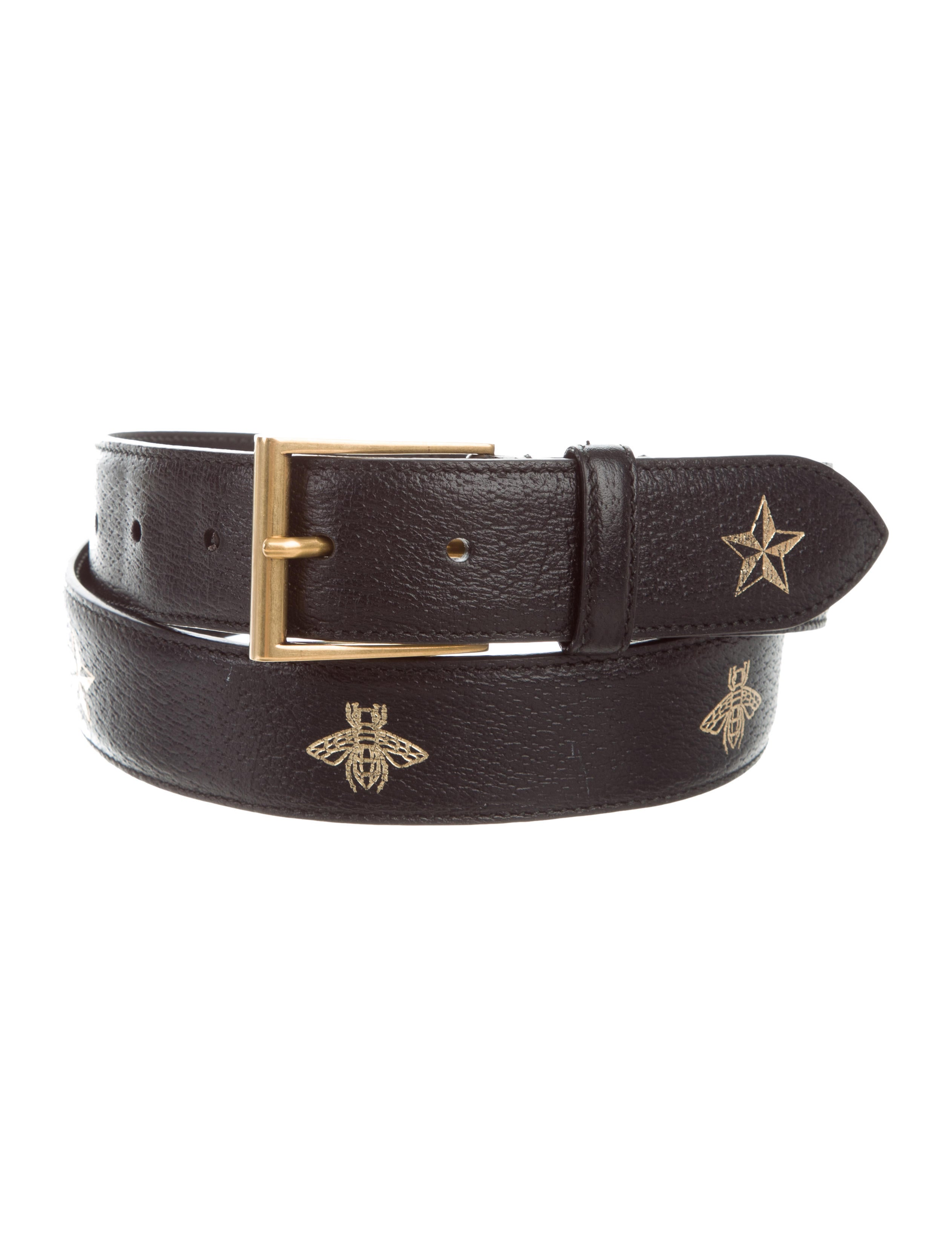 9f2ac78f584 Gucci Bee   Star Leather Belt - Accessories - GUC286933