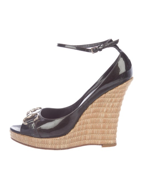 81cf370eb80 Gucci Patent Leather Horsebit Wedges - Shoes - GUC290598