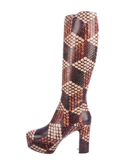 Gucci Platform Snakeskin Boots Brown