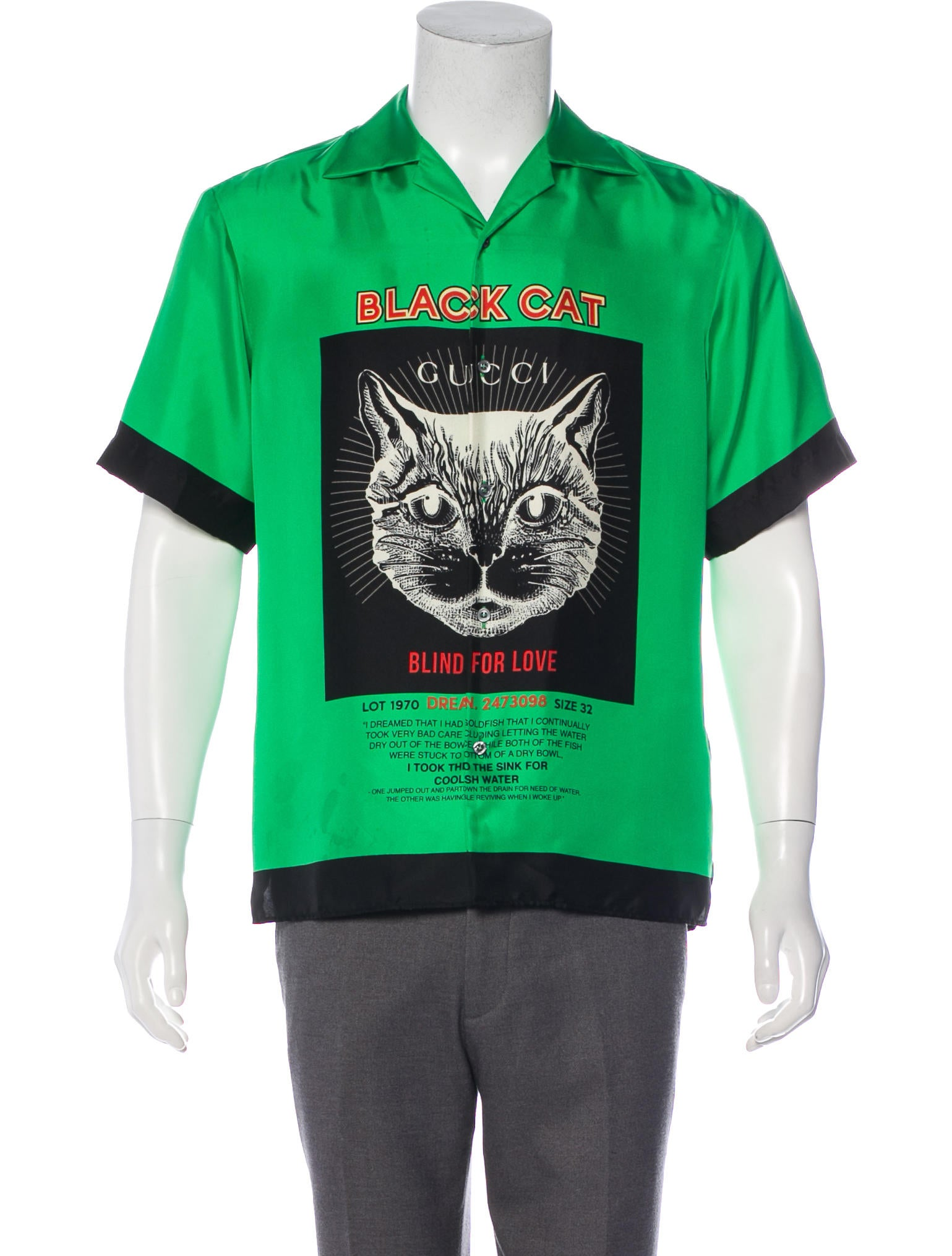 5a822d14151 Gucci 2018 Black Cat Silk Bowling Shirt - Clothing - GUC294703