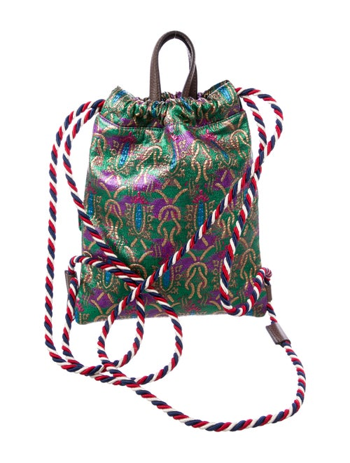 3b6d6f52c6e2f2 Gucci Brocade Animalier Drawstring Backpack - Handbags - GUC295089 ...