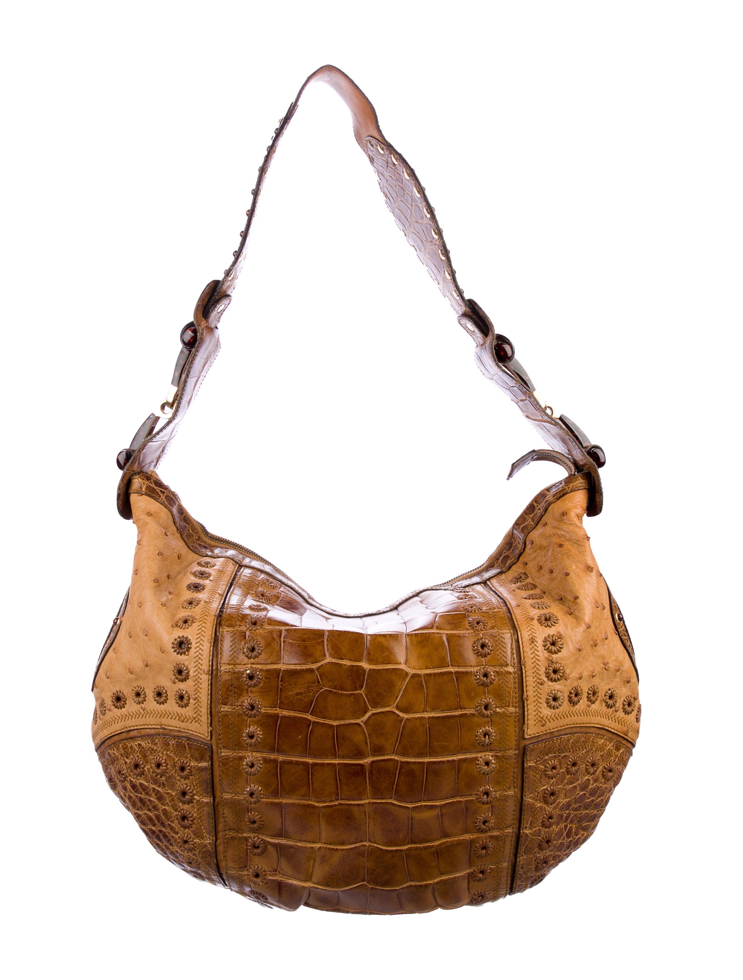 36231683b7f Gucci Ostrich and Crocodile Pelham Hobo - Handbags - GUC297002