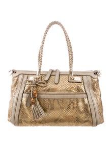 6b1f017e31e5f5 Python Medium Bamboo Shopper Bag. Est. Retail $3,200.00. $1,025.00 · Gucci