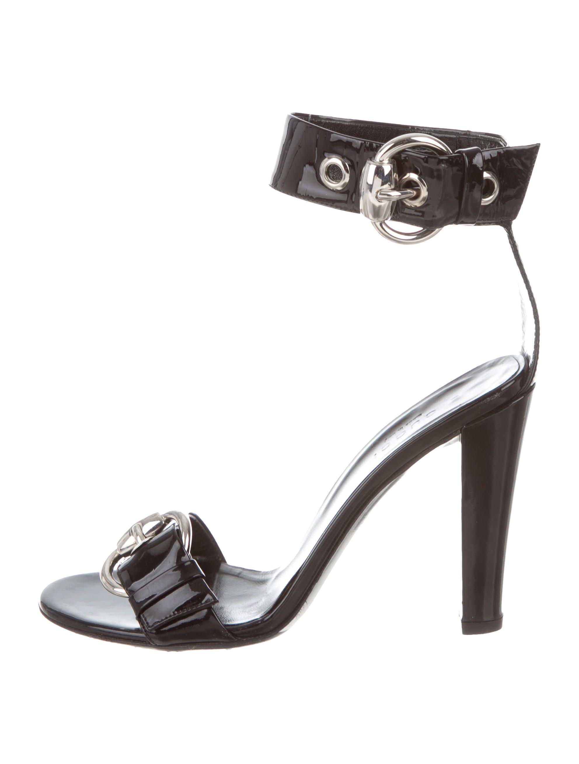 e99da3c3cd35 Gucci Patent Leather Ankle-Strap Sandals - Shoes - GUC304252