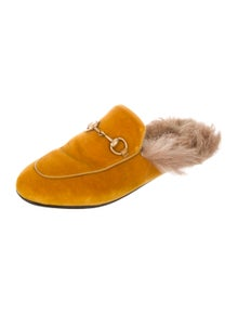 66a30bf0460 Gucci. Fur-Lined Princetown Mules