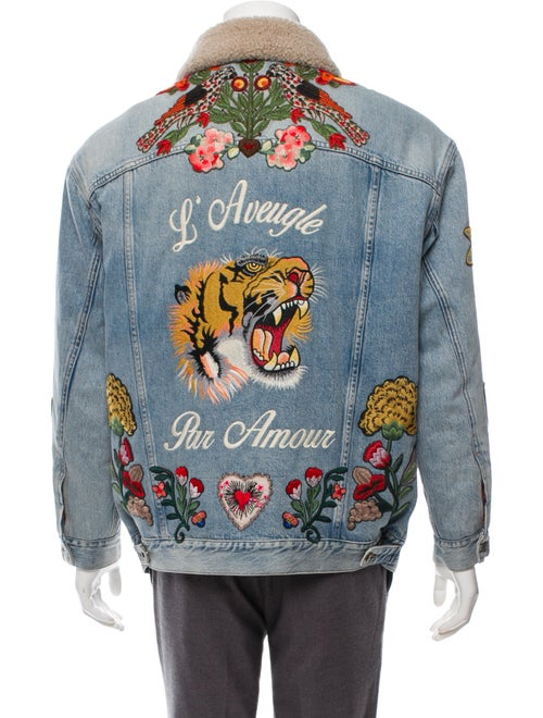 054167352 Gucci L'Aveugle Par Amour Shearling-Lined Denim Jacket - Clothing ...