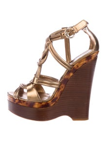 2da568dcdcc Gucci. Leather Caged Wedges