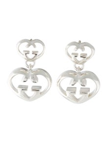 c076982eefa Gucci. Love Britt Double Heart Drop Earrings