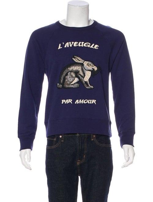 Gucci Hare-Appliqué Sweatshirt blue
