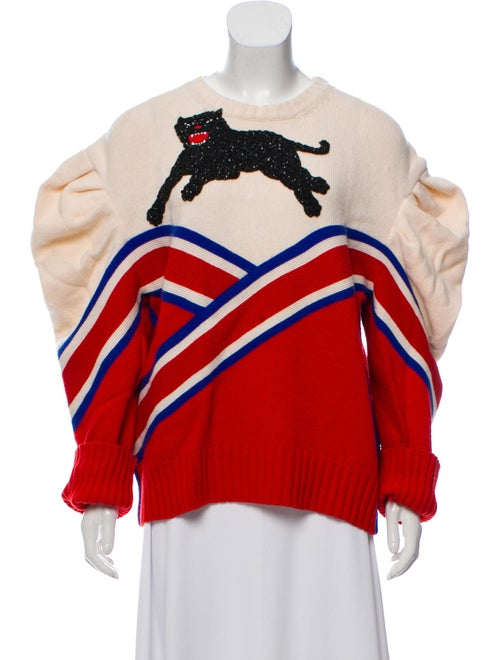 Gucci 2016 Panther Varsity Wool Sweater Red