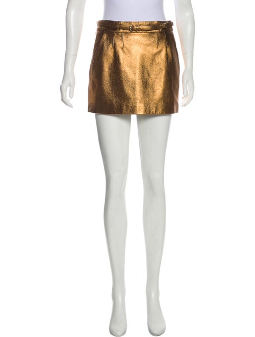 Gucci Leather Metallic Skirt Metallic