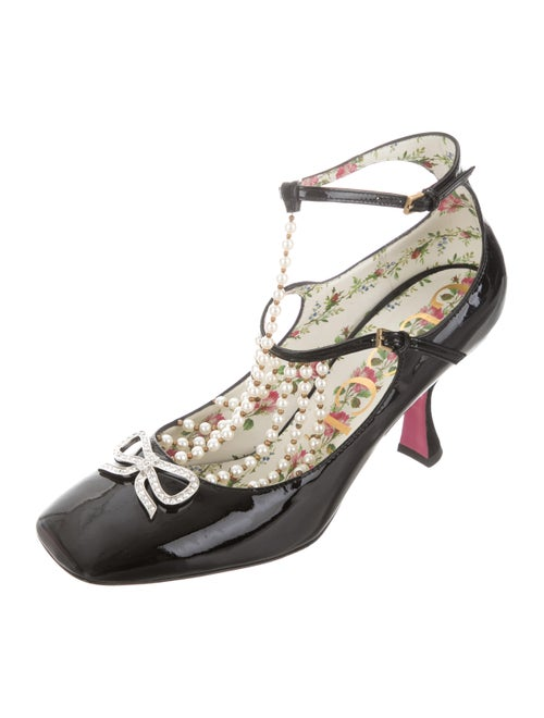 8ffe0c1a3 Gucci Taide Pearl-Accented Mary Jane Pumps - Shoes - GUC320584 | The ...