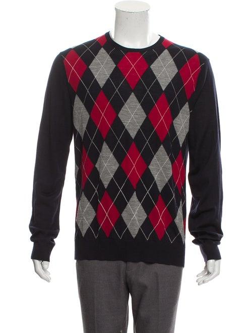 Gucci Wool Argyle Sweater navy