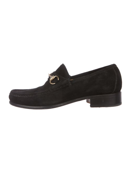 Gucci Suede Round-Toe Loafers Black