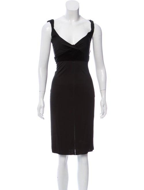 Gucci Sleeveless Velvet Trim Midi Dress Black