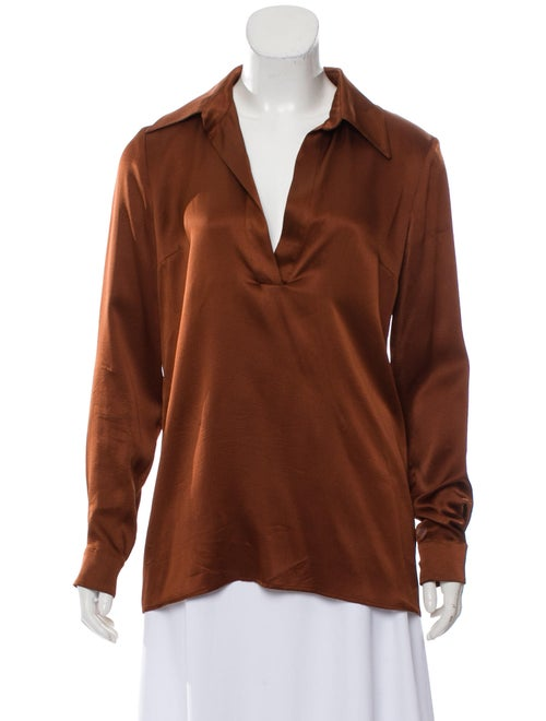 Gucci Silk Long Sleeve Blouse Brown - image 1