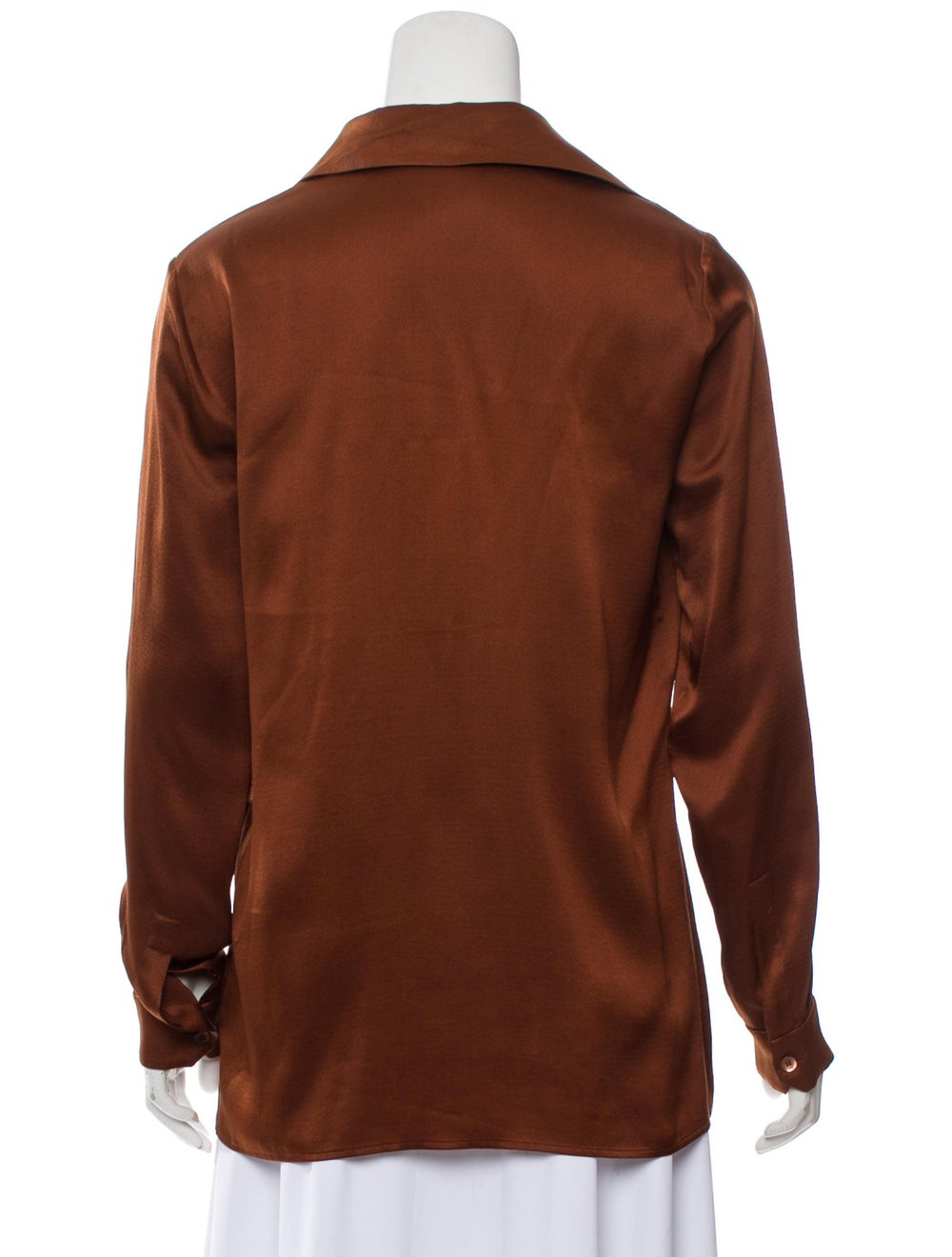 Gucci Silk Long Sleeve Blouse Brown - image 3