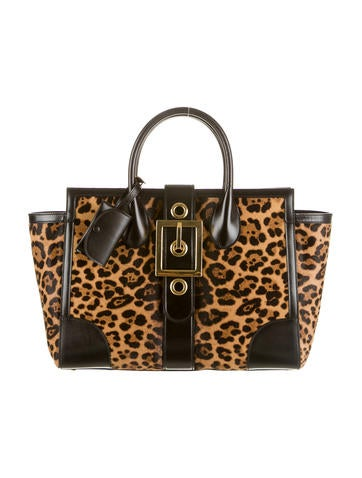 Lady Buckle Jaguar Print Tote