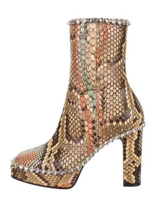 Gucci Embellished Snakeskin Platform Ankle Boots Y