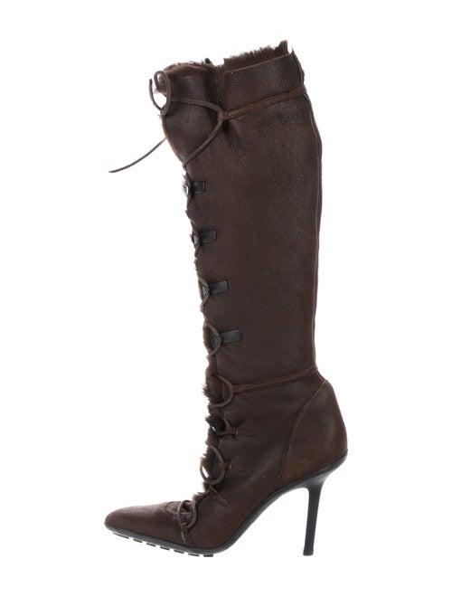Gucci Nubuck Knee-High Boots Brown