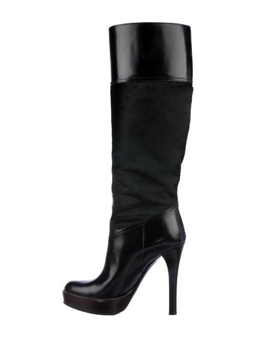 Gucci Ponyhair Platform Knee-High Boots Black