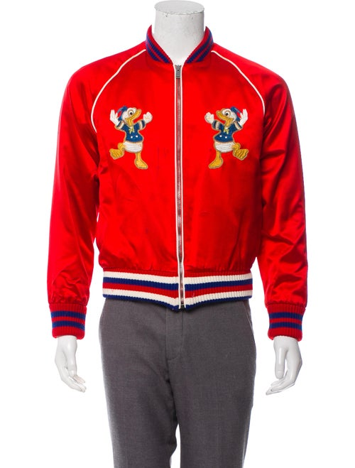 Gucci Silk Donald Duck Bomber Jacket red