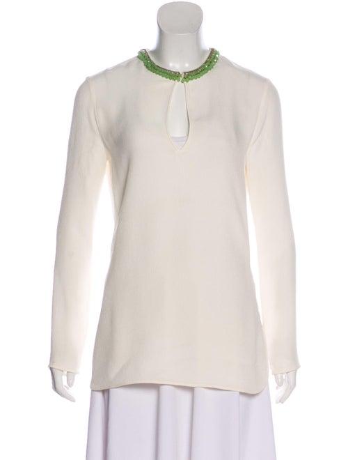 Gucci Silk Beaded Blouse green