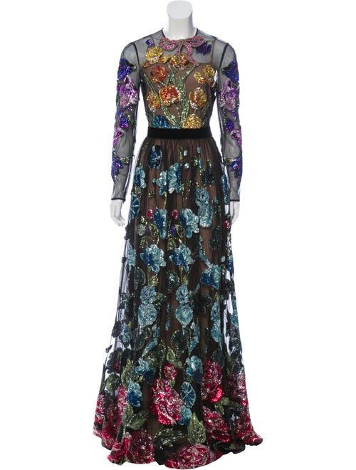Gucci Embellished Tulle Gown Black