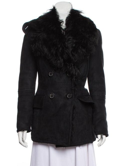Gucci Suede Shearling Jacket Black