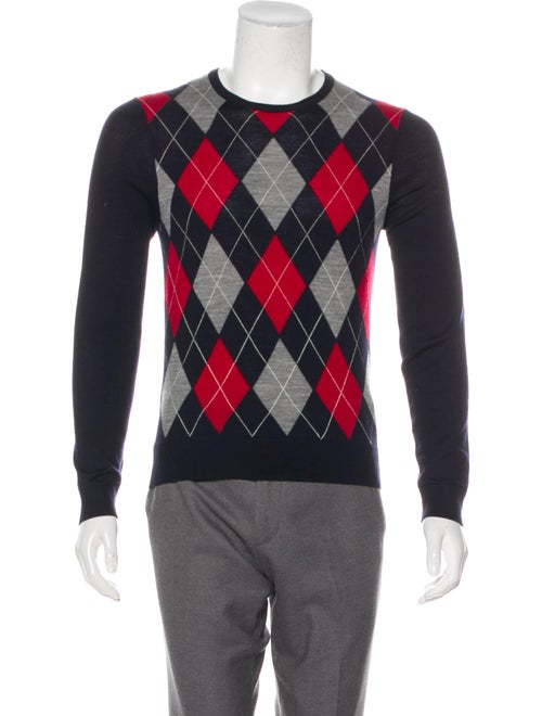 Gucci Argyle Wool Sweater navy
