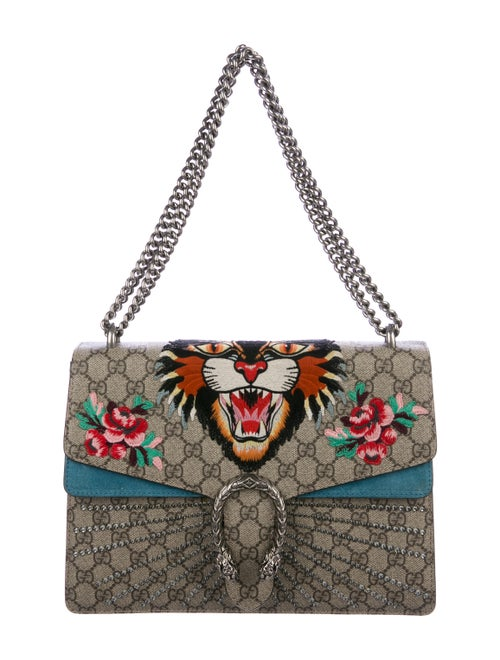 Gucci Medium Angry Cat Crystal Dionysus Bag Beige