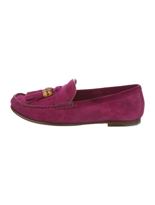 Gucci Suede Round-Toe Loafers Magenta