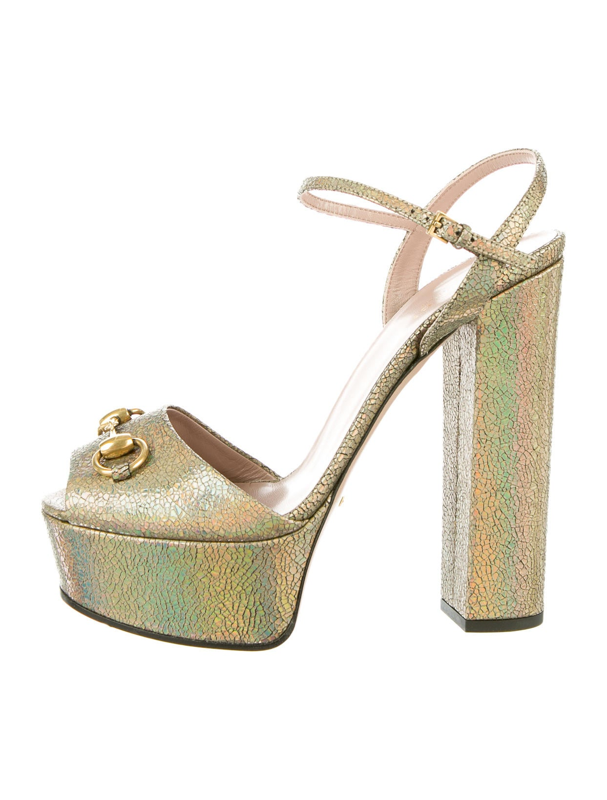 b2f7a374a7e Gucci Claudie Iridescent Platform Sandals w  Tags - Shoes - GUC42118 ...